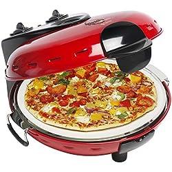 Bestron Four à pizza électrique avec plaque en pierre, Viva Italia, Chaleur supérieure et inférieure, 1000 W, Rouge