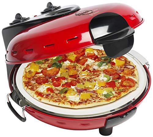 Bestron Horno Eléctrico para Pizza con Placa de Piedra, Viva Italia, Calor Superior e Inferior, 1000 W, Rojo