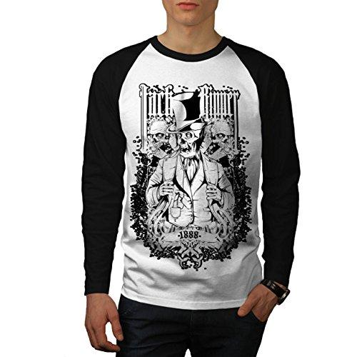 Jack Das Ripper Angst seriell Herren NEU Weiß (Schwarz Ärmel) L Baseball lange Ärmel T-Shirt | Wellcoda