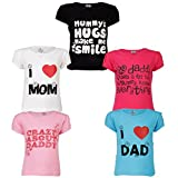 #10: Goodway Junior Girls 5 Pack Mom & Dad Themed Combo Pack of 5 T-Shirts
