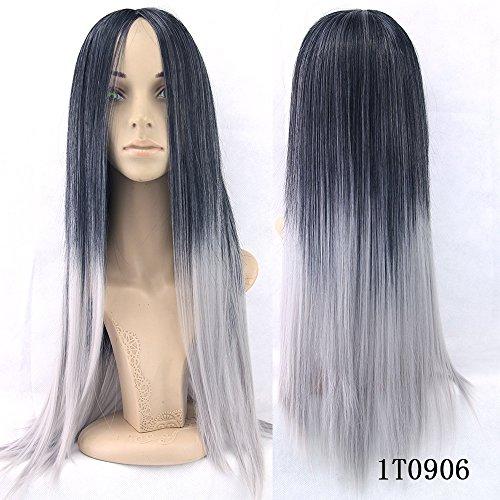 e Ombre Cosplay Perruque Longue Droite Cheveux Synthétiques Halloween Soirée Déguisement (Deguisements Halloween)