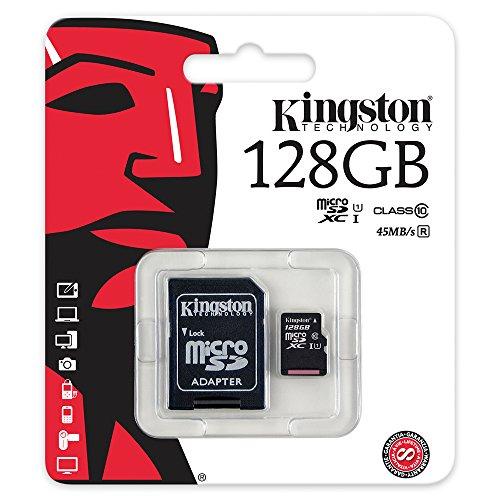 Kingston SDC10G2/128GB Scheda MicroSD da 128 GB, Classe 10, UHS-I, 45 MB/s, con Adattatore SD, Nero