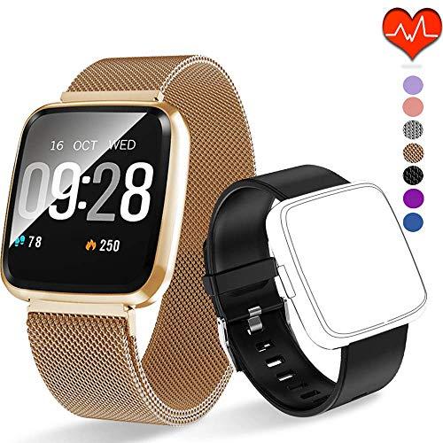 Polywell Fitness Armbanduhr mit Herzfrequenz, Fitness Tracker, Bluetooth Sportuhr Aktivitätstracker Schrittzähler, Schlaf Monitor, Kalorienzähler, Pulsuhr für Android/iOS[2 x Replaceable Watch Strap]