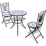 vidaXL mesa de Bistro 60cm de mosaico con 2sillas color blanco y azul