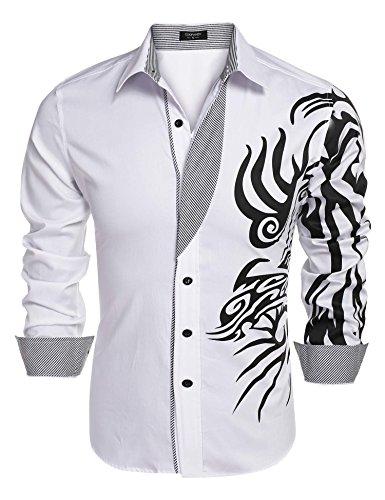 Coofandy Chemise Homme Imprimé Manche Longue Coton de Marque Col Italien Casual Décontracté Taille S-XXXL Blanc