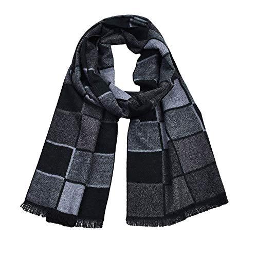 (Fenverk MäNner Klassisch Winter Stricken Schal Warm Plaid Gestrickt Brauch Kaschmir Mode Schals Elegant Geschenk Halstuch Wickeln Krawatten,30X180cm(Schwarz))