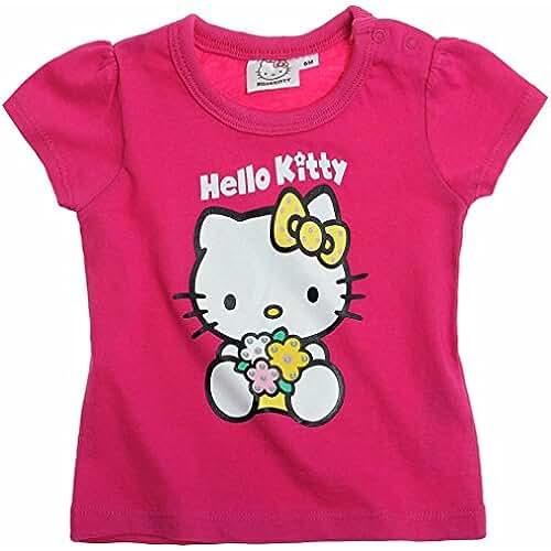 T-shirt bébé fille manches courtes Hello kitty Rose foncé 6mois