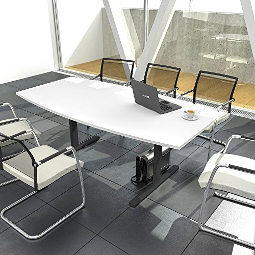 EASY Konferenztisch Bootsform 180x100 cm Weiß Besprechungstisch Tisch, Gestellfarbe:Anthrazit
