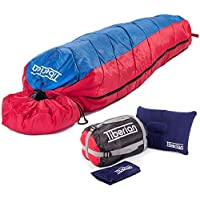 Sleeping Bag For Adults And Kids, 3-4 Season, DoE Awards Mummy Style - Lightweight, Compact, Water Resistant, Breathable. Winter And Summer Use. Perfect For Outdoors, Camping, Hiking, Music Festivals + INFLATABLE CAMPING PILLOW AND COMPRESSION SACK