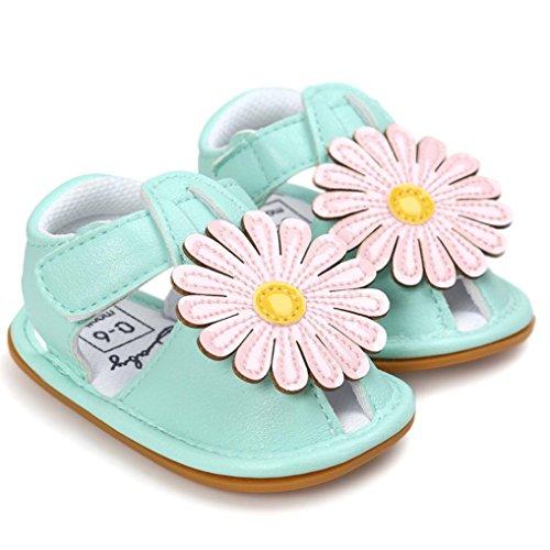 Igemy 1 Paar Baby Mädchen Blumen Sandalen Casual Sneaker Anti-Rutsch Soft Sole Kleinkind Schuhe Grün