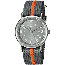 Timex Unisex Special Weekender Slip Through Quartz Watch with Black Dial Analogue Display and Grey Nylon Strap T2N649