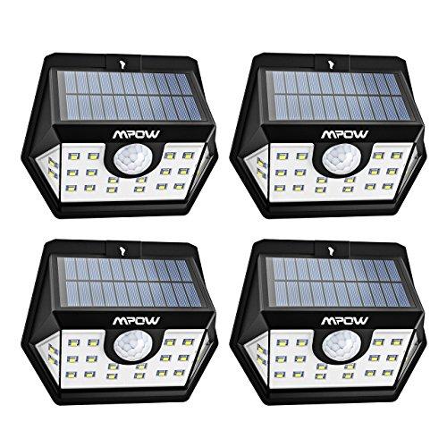 Mpow [Version Avancée] Lampe Solaire 4 Pack 20 LED Etanche Détecteur de Mouvement Temps...