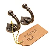 """2"""" Ball End Cast Antique Iron Hook - Pack of 2 (AIBE50)"""