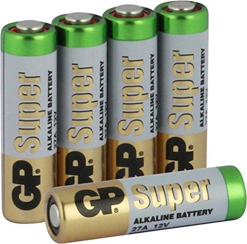 27A 12V Batterien (A27, 27 A, MN27, V27A, WE27A, L828) 12 Volt, 5 Stück im Multipack (Markenware GP Batteries Super Alkaline)