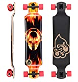BIKESTAR Premium Canadian Maple Drop Down Flush Cut Pro Longboard Skateboard für Kinder und Erwachsene auch Anfänger ab ca. 10 - 12 Jahre ★ 75mm Freeride/Long Distance Pushing Edition ★ Fire Skull Beats Design