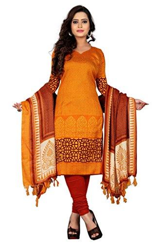 Kurti (Sai Fab Women\'s American Crepe Printed Orange & Kurti) ( Free Size Altrable Till Free OR Un-Stitched)