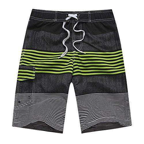 Huntvp Herren Board Shorts Streifen Strand Bermudashorts Surfen Schwimmen Trunks Boxer mit Taschen