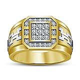 Vorra Fashion 925 Sterling Silver Two Tone Men's White CZ Wedding Band Ring