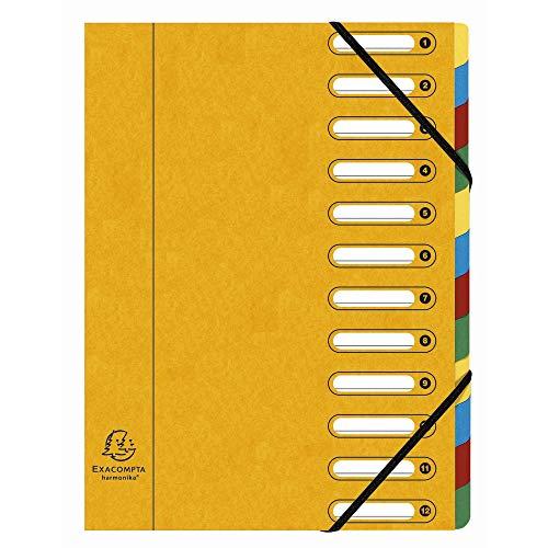 Exacompta 55129E Ordnungsmappe (Harmonika, DIN A4, 21 x 29,7 cm, 12 Fächer, aus Manila-Karton, Gummizug, Indexfenster) 1 Stück gelb