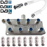 Eurosell 8fach IEC Verteiler Antennenverteiler TV Kabel Adapter Kabelfernsehen