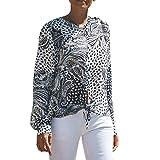 Manadlian Mode Damen O-Ausschnitt Taste Bandage Chiffon Lange Ärmel T-Shirt Bluse Oberteile