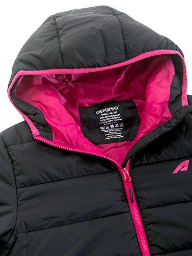 aparso Damen Steppjacke Winterjacke mit Kapuze warm leicht wattiert Schwarz/Rot