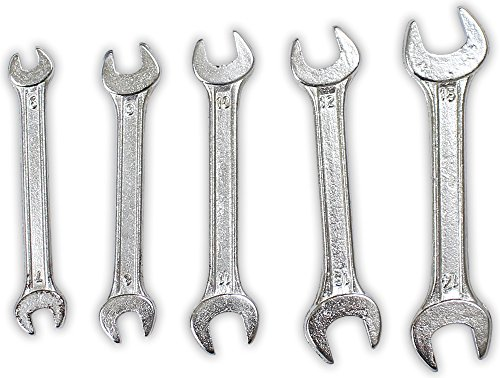 5 Piece Set Of Double Open Ended Spanner Wrenches With Handy Storage Case - Open-ended Wrench Set