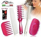 Set spazzola capelli districante per la donna. Ottimo sotto la doccia o per l'asciugatura. Per capelli bagnati, asciuti, lunghi, corti, lisci, ricci. Spazzole sciogli nodi. Adatte a distribure uniformemente creme e balsamo per capelli. 100% made in Italy.