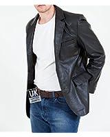 Mens Black Leather Blazer - Double Vented - High Grade Soft Nappa