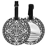 Round Travel Luggage Tags,Mayan Calendar End of The World Prophecy Mystery Cool Ancient Culture Design Print,Leather Baggage Tag