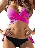 confit you - Damen Bikini Set Wrap Front, Push-Up Top, S, Pink