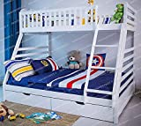 Heavenlybeds @ Wooden Triple Sleeper Bunk Bed Frame White Wood with Two Drawers 4'6 Double and 3ft Single