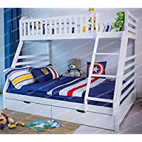 Heavenlybeds @ Wooden Triple Sleeper Bunk Bed Frame White Wood with Two Drawers 4