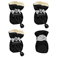 Doggie Style Store Black Fleece Lined Waterproof Dog Puppy Pet Rain Snow Boots (Pack of 4) Reflective Non Slip Booties Socks Shoes