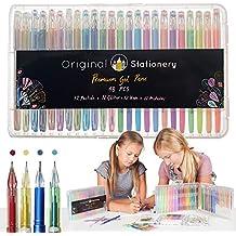 Original Stationery Set di penne gel per adulti, punta sottile senza sbavature, metalliche, fluorescenti, gesso liquido, 48colori