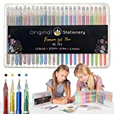 Original Stationery Set di penne gel per adulti, punta sottile senza sbavature, metalliche, fluorescenti, gesso liquido, 48 colori