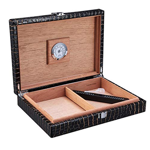 20 Stick Zigarren Humidor Zigarren Humidore Zeder Zigarren Humidor Feuchtigkeitsspendende Kabinett Konfigurieren Hygrometer (Color : Black, Size : 58 * 20.4 * 27.8CM)