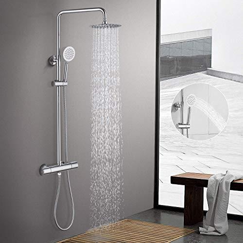 BONADE duschsystem mit Thermostat regendusche Duschsäule, 75-125CM Höhenverstellbare Duschstange mit 8 Zoll Ultra-dünne runde Kopfbrause Handbrause aus Edelstahl verchromt, wellness aufputz Duschset