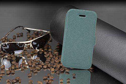 Cadorabo - Étui / Housse de Protectio fermeture aimantée design: Fine Book Case pour Apple iPhone 5 / 5S / 5G en BLANC BLEU