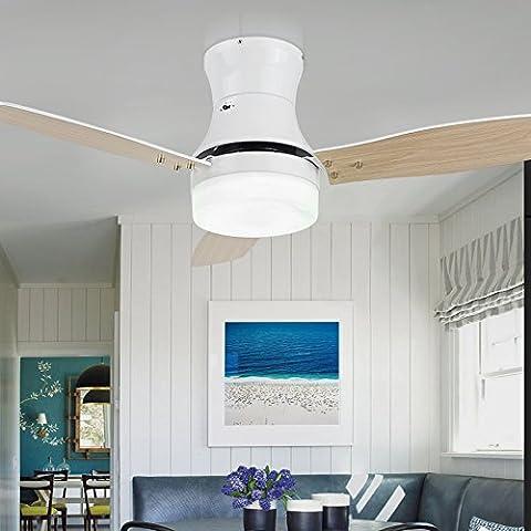 42 pollici decorativo ventilatori a soffitto con luci camera da letto in legno lampada ventilatore Telecomando ,Bianco,42 pollici 220V
