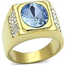 Yourjewellerybox - Anillo con detalle de diamante falso - para hombres - 18kt bañado en oro amarillo