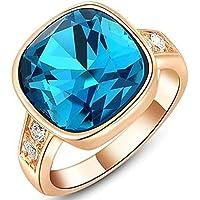 Gnzoe Gioielli, Placcato Oro Rosa Austriaco Cristallo Angle Blu Diamante Fidanzamento Anello di Nozze Donna - 22 Angle Pezzo