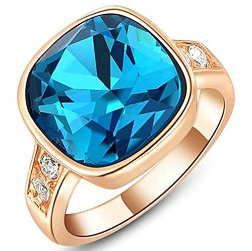Gnzoe Gioielli, Placcato Oro Rosa Austriaco Cristallo Angle Blu Diamante Fidanzamento Anello di Nozze Donna
