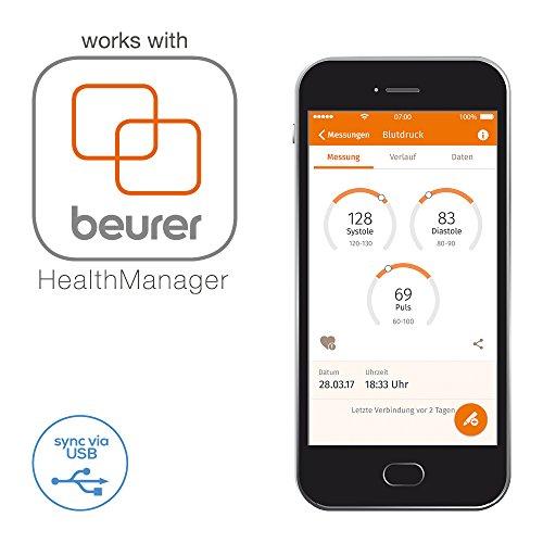 Beurer BM 58 Oberarm-Blutdruckmessgerät, mit Sensor-Touch-Knöpfen, beleuchtetes XL-Display, USB Schnittstelle - 6