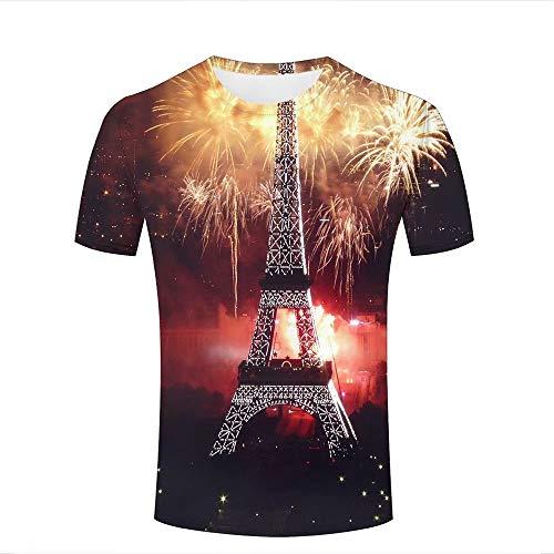 66fe7e0e Men's 3D Printed Summer Couple Tees Splendid Fireworks in Paris Short  Sleeve Casual T-Shirts