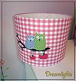 Lampenschirm - Eulenpaar, rosa weiß kariert - 30 cm - Wunschfarbe auf Anfrage möglich