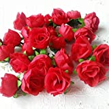 Ricisung, 50künstliche Rosen, 3cm große Blüten, Hochzeitsdekoration, rot