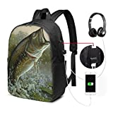 Zaino con interfaccia USB Travel Laptop Backpack with USB College School Computer Bag Gifts for Women & Men Fits Jumping Fish Painting