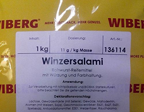 Wiberg Winzersalami OA, 1kg, Reifemittel mit Würzung und Umrötung, Gewürz