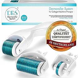 DRS Dermaroller 3-in-1 Sparset: 1x Dermaroller mit 600 (0,30mm) + 1x Ersatzkopf mit 180 (0,25mm) + 1x Ersatzkopf mit 1200 (0,50mm) Nadeln